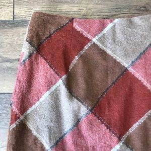 Vintage Skirts - Vintage Red and Tan Plaid Midi Skirt